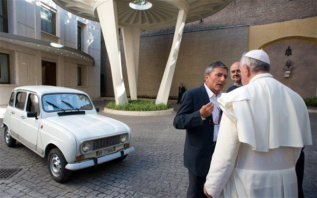 Pope Francis has received a 20 year old white Renault 4 to drive himself around Vatican City photo
