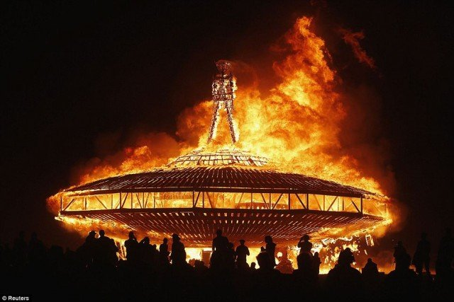 The 27th annual Burning Man festival in northern Nevada's Black Rock Desert comes to a close after a week of fiery excess
