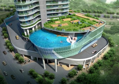 The Wadhwa group is building The Aquaria Grande in Mumbai, planning to feature a swimming pool on the balcony of select apartments in the complex
