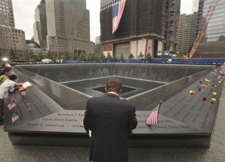 The names of 648 co-workers who died in the 9/11 attacks were arranged on the Cantor Fitzgerald section at the Ground Zero memorial according to who knew whom best
