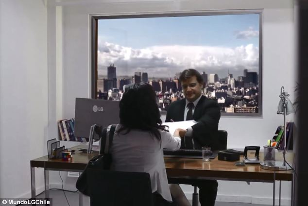 "To promote just how life-like images appear on the company's 82-inch ""Ultra HD"" TV, LG created a fake office in which one of its screen was positioned to look like a window."