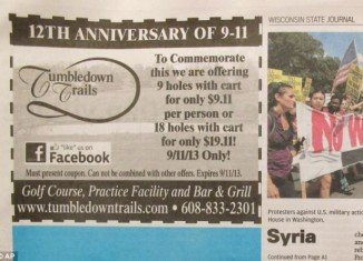 Tumbledown Trails Golf Course in Verona could be forced to close after offering a promotion for nine holes for $9.11 on the 12th anniversary of the September 11 terrorist attacks