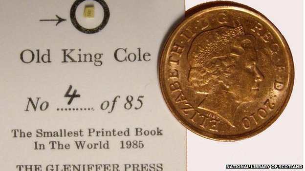 World's smallest printed book, no bigger than a grain of rice, is part of a new exhibition of miniature books at the National Library of Scotland in Edinburgh