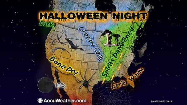 A massive storm system could make for a rainy Halloween for trick-or-treaters across the US from New England to Texas
