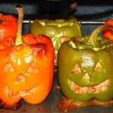 Halloween Stuffed Jack-O-Lantern Bell Peppers