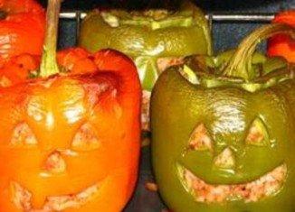 Halloween Stuffed Jack-O-Lantern Bell Peppers