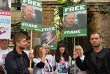 Jude Law and Damon Albarn have joined hundreds demonstrating in London over piracy charges brought by Russia against 30 Greenpeace activists