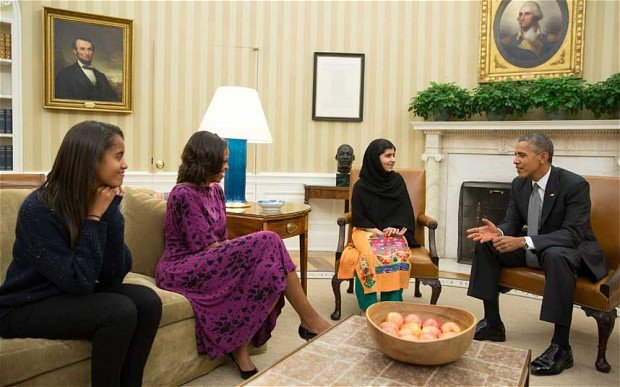 Malala Yousafzai has met President Barack Obama and First Lady Michelle Obama at the White House in the Oval Office