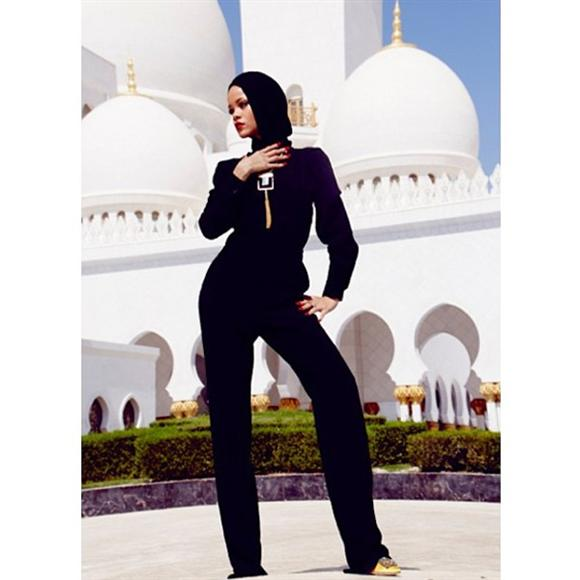 "Overseers of Abu Dhabi's Sheikh Zayed Grand Mosque asked Rihanna to leave the compound after she posed for photographs considered to be at odds with the ""sanctity"" of the site"