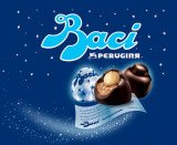 Perugina's Baci chocolate bonbons are filled with hazelnut chocolate cream, topped with a whole hazelnut, and wrapped in a love note