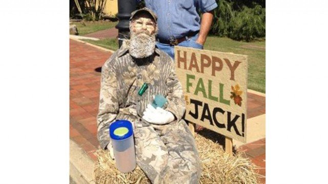 Si Robertson-themed scarecrow was constructed by a group of parents of fourth graders at Ball Ground Elementary School