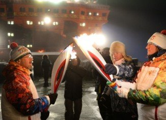 The Olympic flame has arrived to the North Pole aboard a Russian nuclear-powered icebreaker