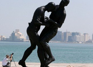 The bronze statue of Zinedine Zidane's infamous headbutt has been taken down from the Corniche in Doha