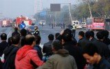 At least one person died following a series of small blasts outside a provincial office of the ruling Communist Party in Shanxi province