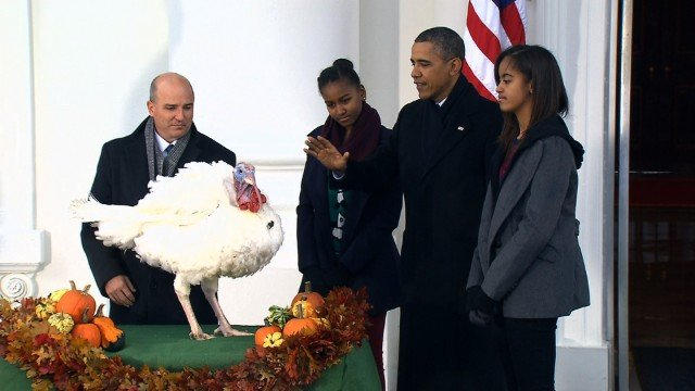 Barack Obama has symbolically pardoned two turkeys on the eve of the Thanksgiving holiday photo