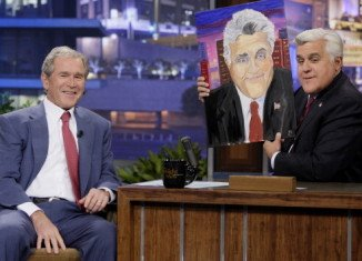 George W. Bush presented Jay Leno with a portrait of the comedian