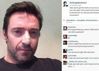 Hugh Jackman revealed he has been treated for skin cancer after seeking advice for a mark on his nose