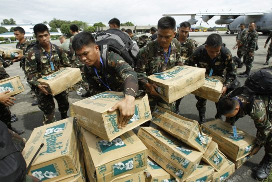 Humanitarian aid needed at large scale after Typhoon Haiyan barreled through the Philippines over the weekend and killed an estimated 10,000 people