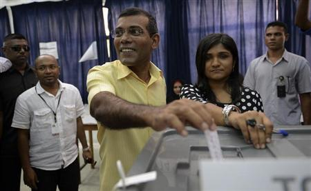 Maldives' ex-President Mohamed Nasheed polled nearly 47 percent, just short of the 50 percent needed for outright victory