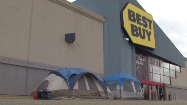 People are already lining up at a local Best Buy store in Cuyahoga Falls, Ohio, for this year's Black Friday deals
