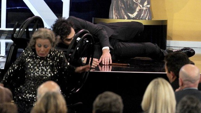 Sacha Baron Cohen shocked at the BAFTA Britannia Awards in Hollywood after pushing an elderly woman in a wheelchair off the stage while accepting an award