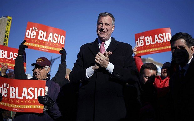 With almost all votes counted, Bill de Blasio will succeed Mayor Michael Bloomberg to become the first Democrat leading New York City in two decades