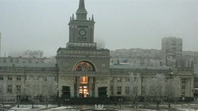 A nearby security camera facing Volgograd's train station caught the moment of the blast