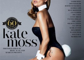 Kate Moss channels a Playboy bunny on the magazine's much-anticipated January cover in honor of her 40th birthday year