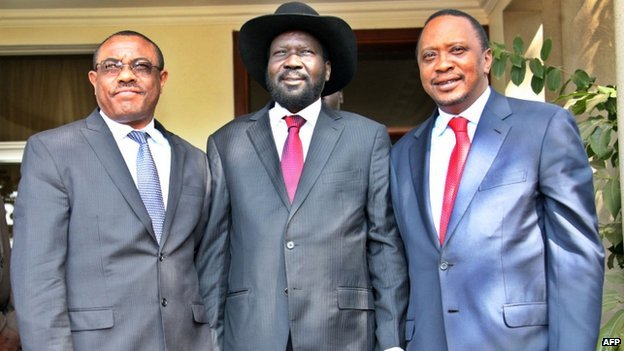 Kenya talks come a day after South Sudan's President Salva Kiir Mayardit met the Kenyan president and Ethiopian PM in Juba