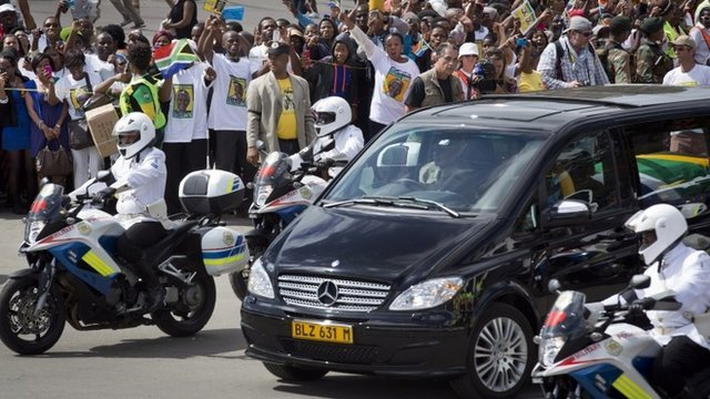 Nelson Mandela's coffin has arrived in his ancestral home in Qunu