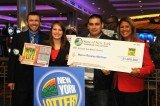 New York Lottery officials cut Marvin Martinez a check for the winning ticket he found raking leaves last November in the wake of Superstorm Sandy