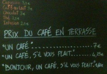 Price list at Le Petite Syrah cafe in Nice photo