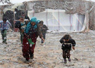 Syrian refugee camps in Lebanon have been hit by a fierce winter storm