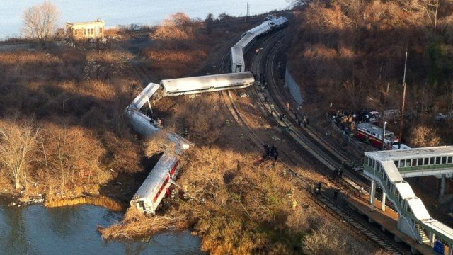 The Metro-North train from Poughkeepsie to Grand Central Station derailed as it went into a bend in the railway line near Spuyten Duyvil station