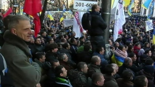 The protesters have given Viktor Yanukovych 48 hours to dismiss the government and are demanding new elections for the presidency and government photo