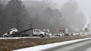 A snow storm spawned traffic chaos in the Deep South leaving thousands of people stranded overnight on motorways, in schools and churches