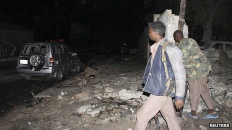 At least eight people have been killed after two car bombs have exploded outside Jazeera hotel in the Somali capital Mogadishu