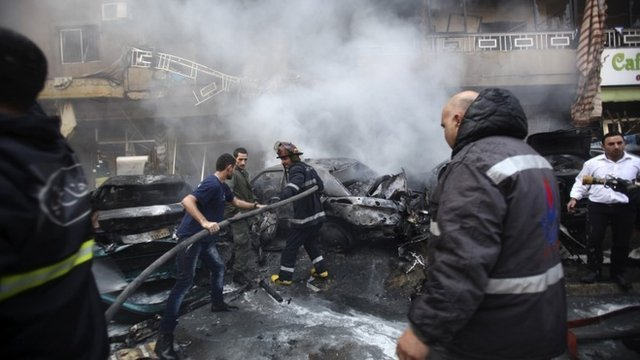 At least four people have been killed by a suspected bomb explosion in a Hezbollah stronghold in a Shia-dominated southern suburb of Beirut