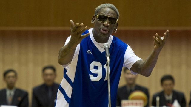 Dennis Rodman has sung Happy Birthday to North Korea's leader Kim Jong-un in front of a crowd of thousands in Pyongyang