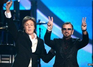 Former Beatles Sir Paul McCartney and Ringo Starr reunited on stage at Grammy Awards 2014