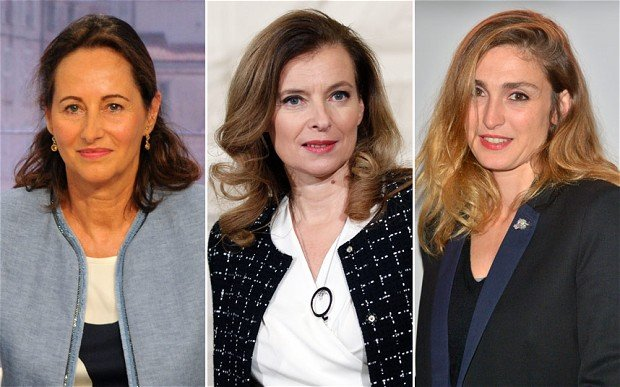 Francois Hollande's partners, Segolene Royal, Valerie Trierweiler and Julie Gayet