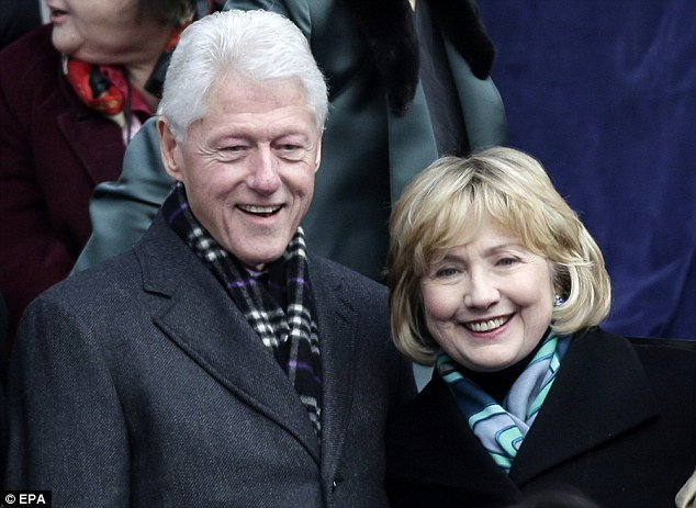 Hillary Clinton shows off her updated hairstyle at the inauguration of New York City Mayor Bill de Blasio