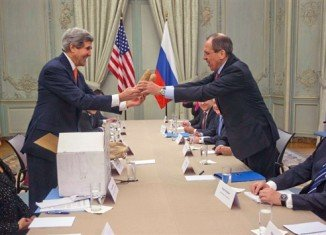 John Kerry presented two large Idaho potatoes as a gift for Russian Foreign Minister Sergei Lavrov during a meeting in Paris