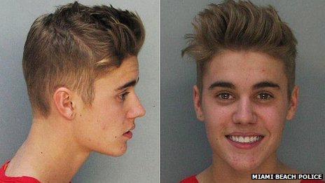 Miami Beach Police released mugshots of Justin Bieber after the star has been arrested and accused of road racing and DUI