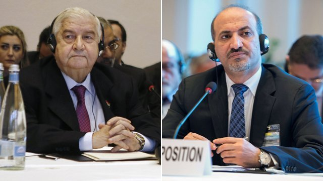 Syrian government and opposition have traded bitter accusations on the first day of a major peace conference in Geneva