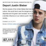 The online petition requesting Justin Bieber's expulsion from the US attained 100,000 signatures