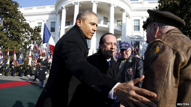 Francois Hollande was greeted by a military honor guard and blaring brass band on the south lawn of White House