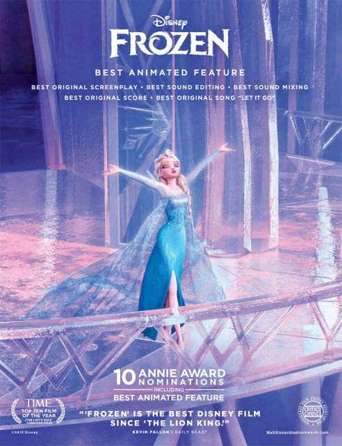 Frozen was the big winner at the 41st annual Annie Awards, taking five prizes including best animated feature