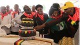 Huge cakes were on display in the centre of the stadium in Marondera, while the crowd wore red scarves, as is traditional on Robert Mugabe's birthday