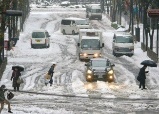 Hundreds of people have been evacuated in Japan, as more than 3 ft of snow fell in some areas